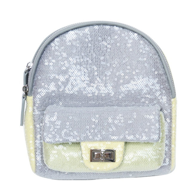 Popatu Silver & Yellow Sequin Mini Backpack - Popatu pageant and easter petti dress