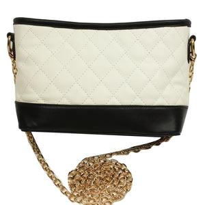 White and Black Quilted Purse