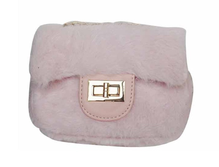 Popatu Pink Fur Handbag - Popatu pageant and easter petti dress