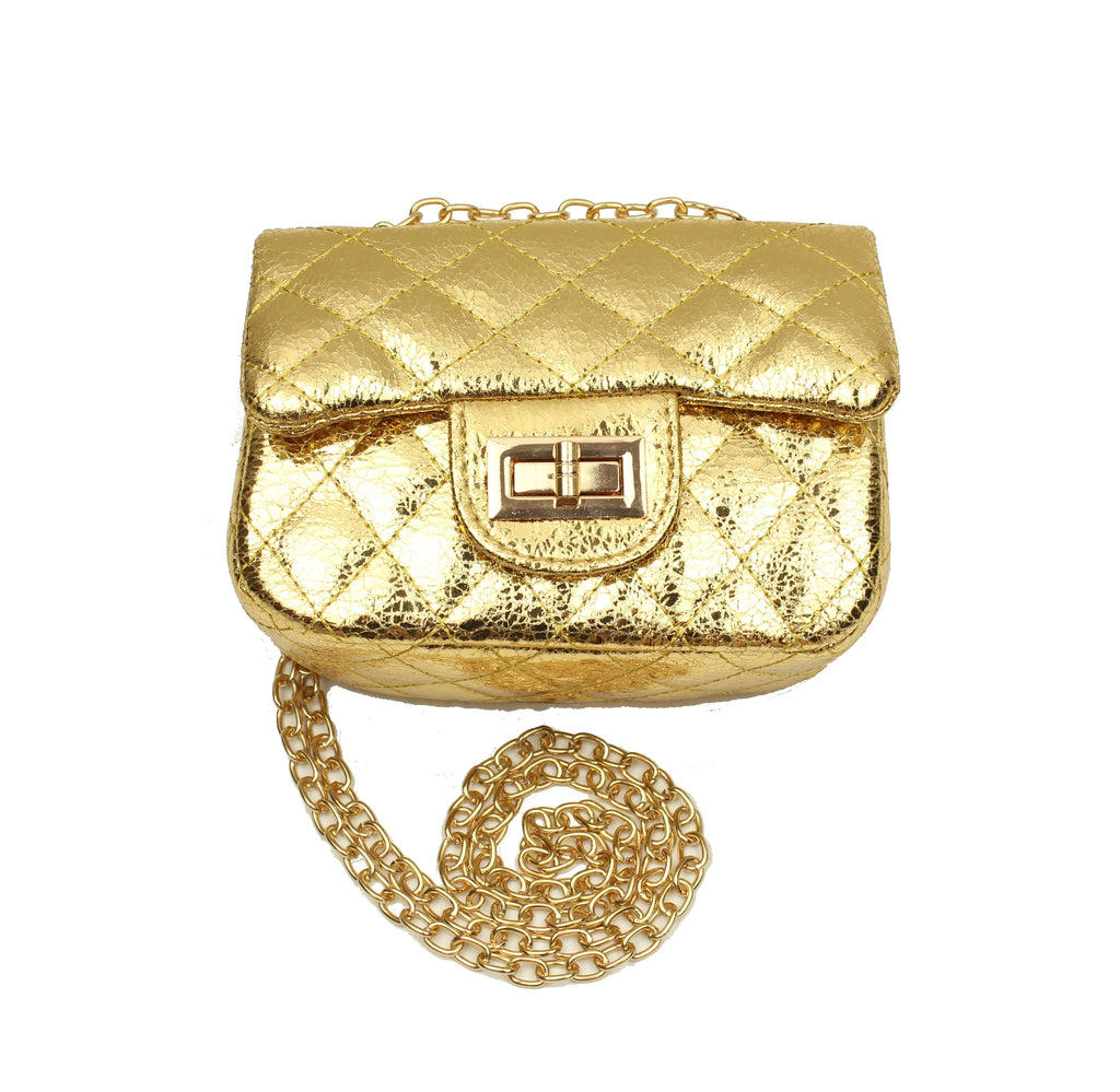 Gold Metallic Cross Body Purse
