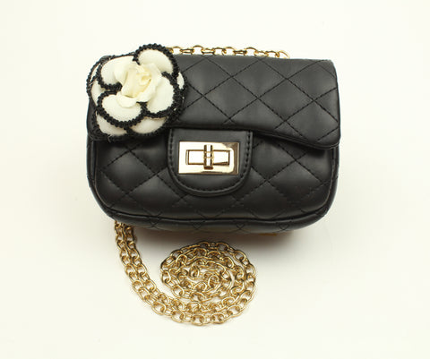Popatu Black Flower Handbag