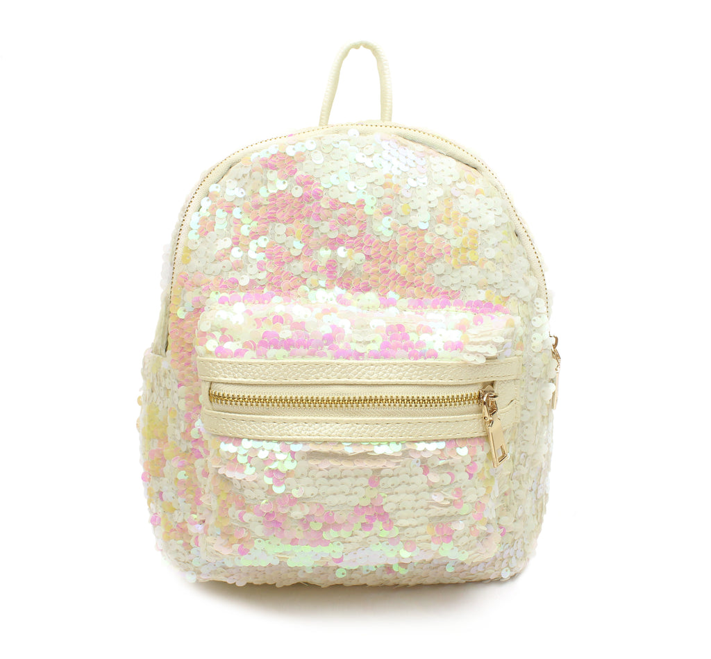 Popatu Sequin White Mini Backpack