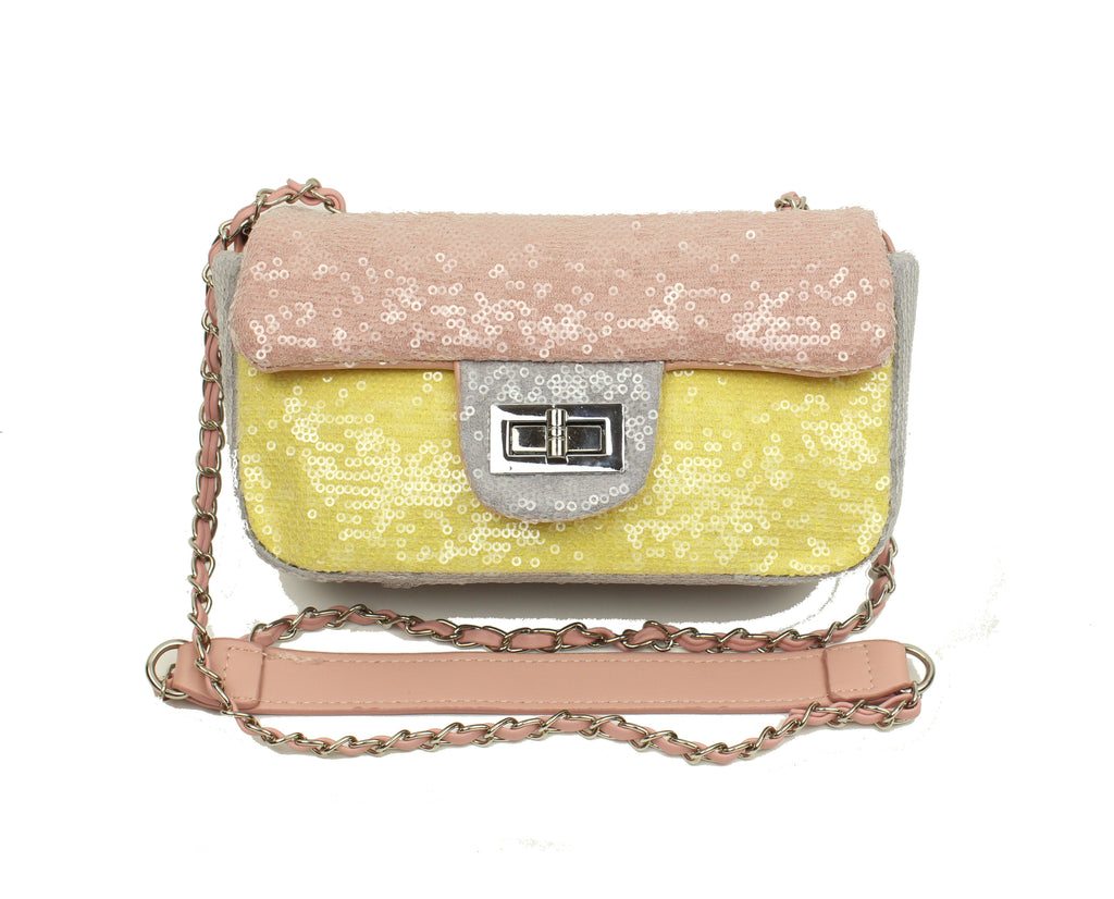 Pink & Yellow  Sequin Cross Body Purse