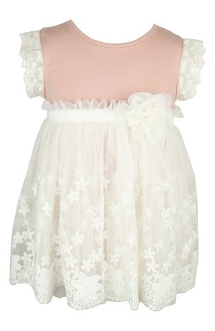 Mauve Baby Onesie with White Tulle Overlay - Popatu pageant and easter petti dress
