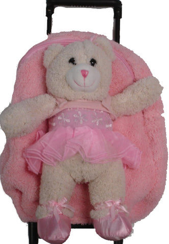 Popatu Pink Rolling Backpack with Ballerina Bear Stuffed Animal - Popatu pageant and easter petti dress
