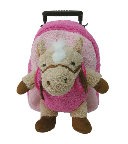 Popatu Pink Trolley Backpack with Stuffed Animal Horse