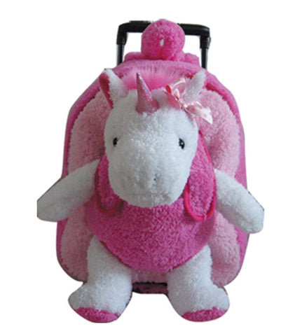 Popatu Girls HotPink Stuffed Animal Unicorn Rolling Backpack - Popatu pageant and easter petti dress
