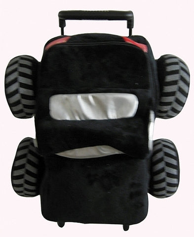 Popatu Boys Black Rolling Backpack with Plush Monster Truck - Popatu pageant and easter petti dress