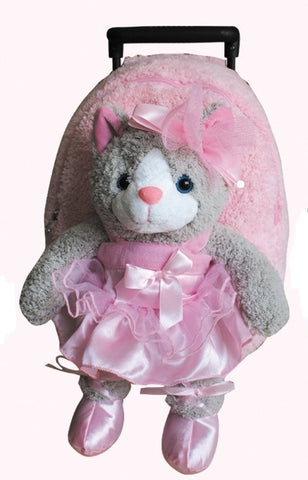 Popatu Pink Trolley Backpack with Ballet Cat - Popatu pageant and easter petti dress