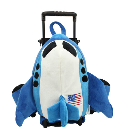 Popatu Blue Airplane Rolling Backpack with USA Flag - Popatu pageant and easter petti dress