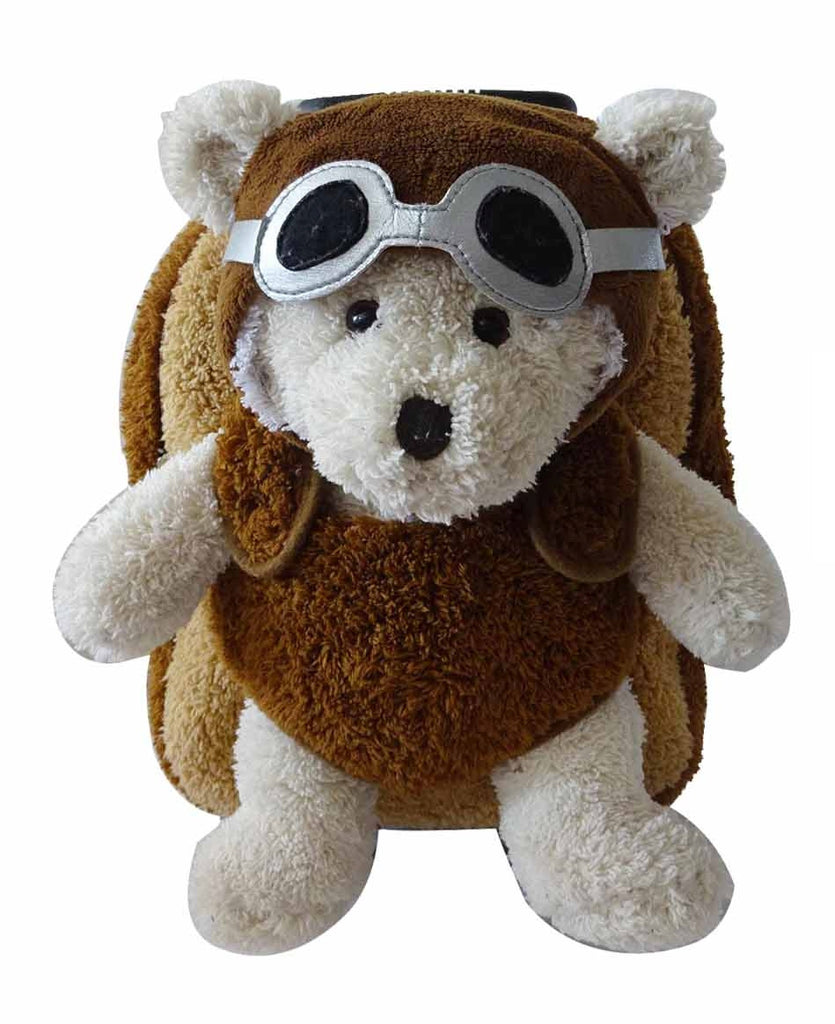 Popatu Boys Brown Rolling Backpack with Aviator Bear Stuffed Animal - Popatu pageant and easter petti dress