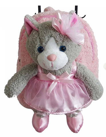 Popatu Pink Rolling Backpack with Grey Kitty - Popatu pageant and easter petti dress