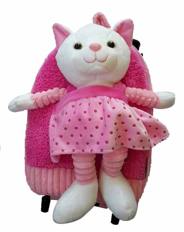 Popatu Pink Rolling Backpack with Kitty - Popatu pageant and easter petti dress