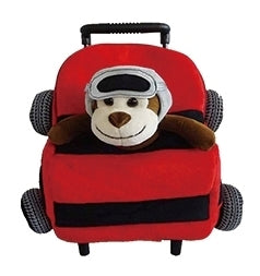 Popatu Red Car Rolling Backpack with Monkey Plush - Popatu pageant and easter petti dress