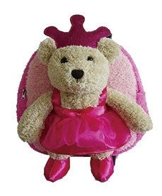 Popatu Pink Rolling Backpack with Princess Brown Bear - Popatu pageant and easter petti dress