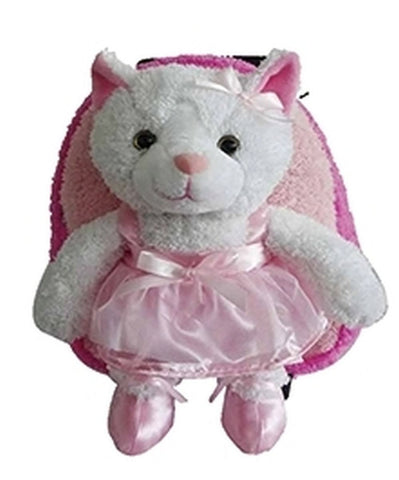 Popatu Pink Rolling Backpack with White Cat Plush - Popatu pageant and easter petti dress