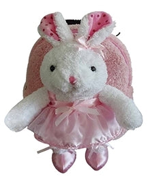 Popatu Pink Rolling Backpack with White Rabbit Stuffed Animal
