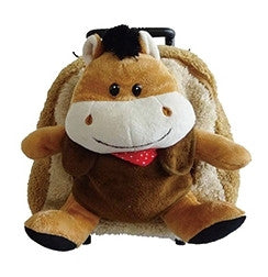 Popatu Brown Trolley Backpack With Brown Horse Stuffed Animal - Popatu pageant and easter petti dress