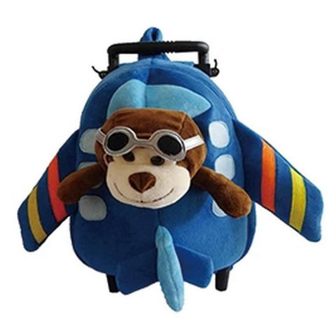 Popatu Blue Trolley Backpack With Stuffed Animal Monkey - Popatu pageant and easter petti dress