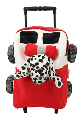 Popatu Red Trolley Backpack With White Dalmation Stuffed Animal