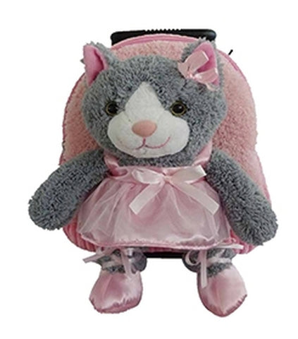 Popatu Girls Pink Rolling Backpack with Ballet Kitten Stuffed Animal - Popatu pageant and easter petti dress