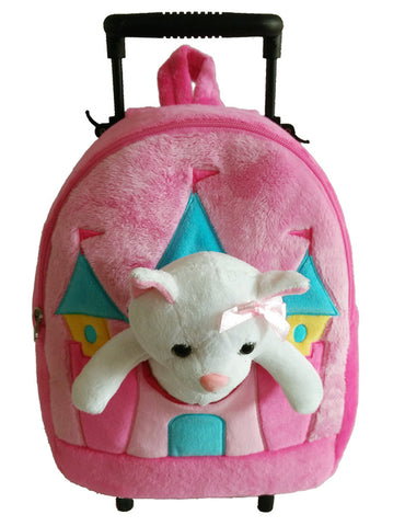 Popatu Pink Rolling Backpack with Stuffed Animal Kitty - Popatu pageant and easter petti dress