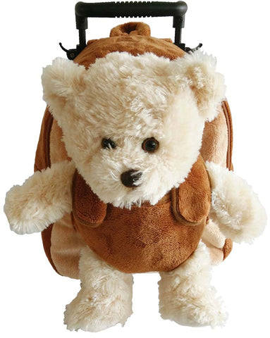 Popatu Boys Brown Rolling Backpack with Bear Stuffed Animal - Popatu pageant and easter petti dress