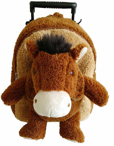 Popatu Boys Brown Rolling Backpack with Stuffed Animal Horse - Popatu pageant and easter petti dress