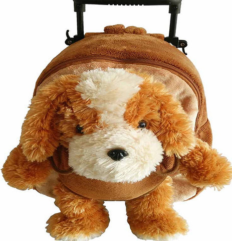 Popatu Brown Rolling Backpack with Dog Stuffed Animal