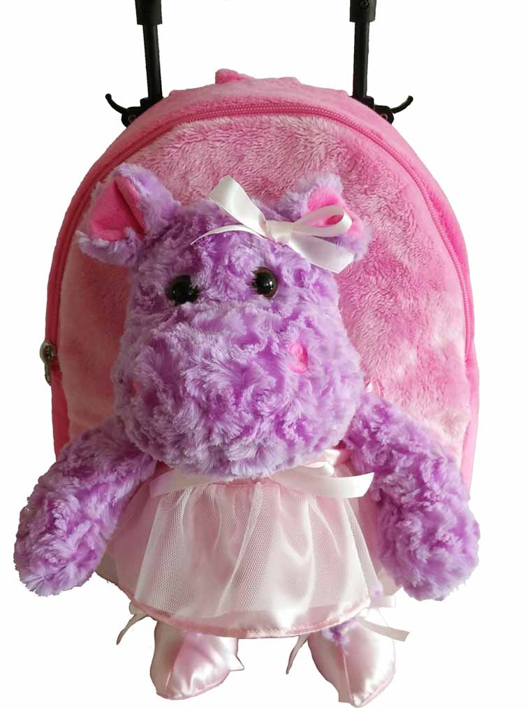 Popatu Pink Rolling Backpack with Hippo Stuffed Animal
