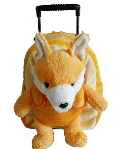 Popatu Boys Orange Rolling Backpack with Stuffed Animal Fox - Popatu pageant and easter petti dress
