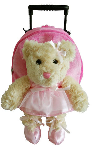 Popatu Girls Pink Rolling Backpack with Ballet Bear Stuffed Animal - Popatu pageant and easter petti dress