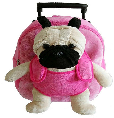 Popatu Girls Pink Rolling Backpack With Pug Stuffed Animal - Popatu pageant and easter petti dress