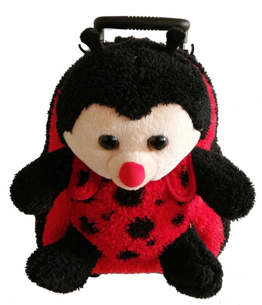 Popatu Girls Red Stuffed Animal Lady Bug Rolling Backpack - Popatu pageant and easter petti dress