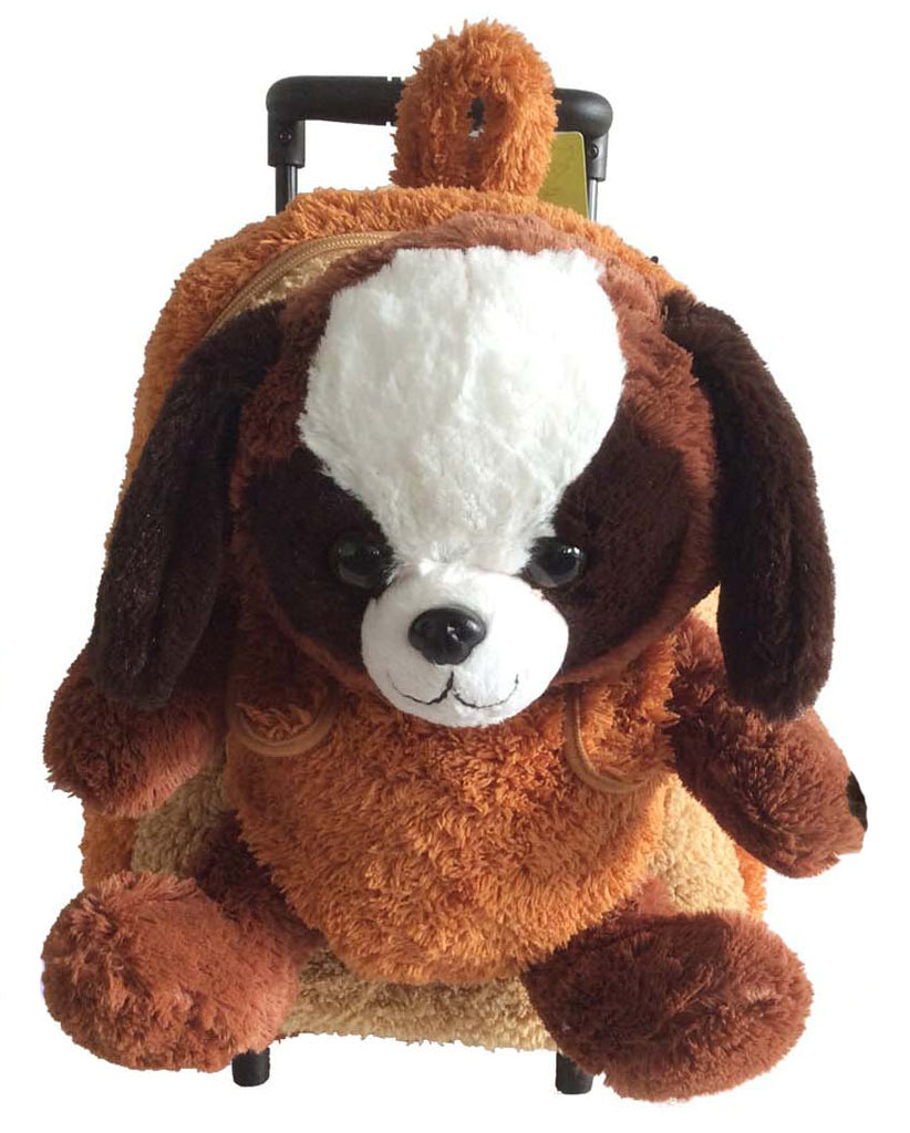 Popatu Brown Rolling Backpack with Puppy Plush - Popatu pageant and easter petti dress