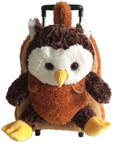 Popatu Brown Rolling Backpack with Owl Stuffed Animal