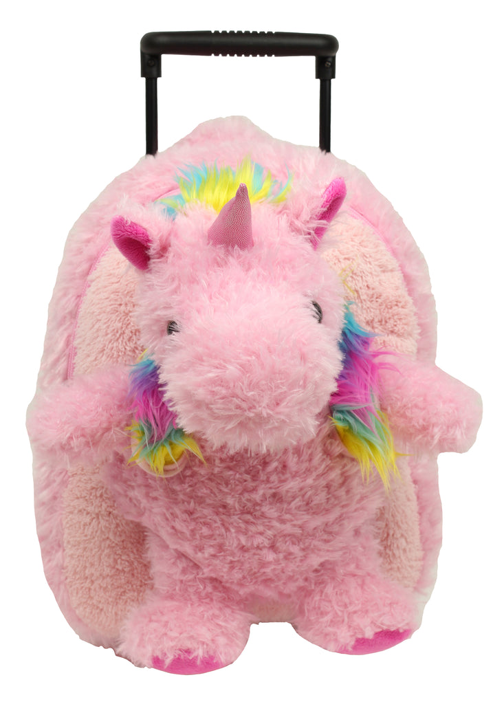Popatu Pink Rainbow Hair Unicorn Rolling Backpack - Popatu pageant and easter petti dress