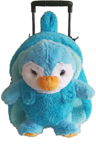 Popatu Boys Stuffed Animal Penguin Blue Rolling Backpack - Popatu pageant and easter petti dress
