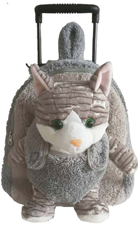 Popatu Girls Grey Rolling Backpack with Kitty Stuffed Animal - Popatu pageant and easter petti dress