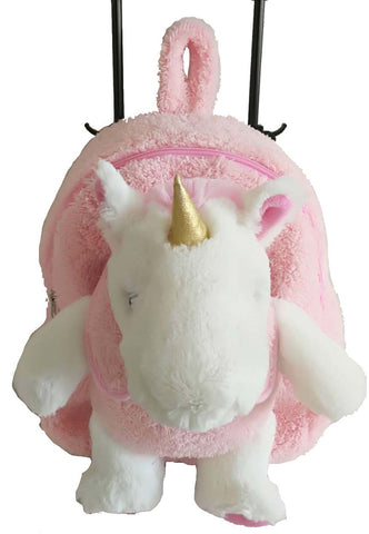 Popatu Girls White Stuffed Animal Unicorn Pink Rolling Backpack - Popatu pageant and easter petti dress