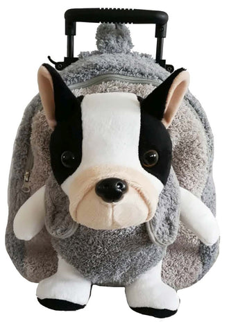 Popatu Boys Grey Rolling Backpack with Dog Stuffed Animal - Popatu pageant and easter petti dress
