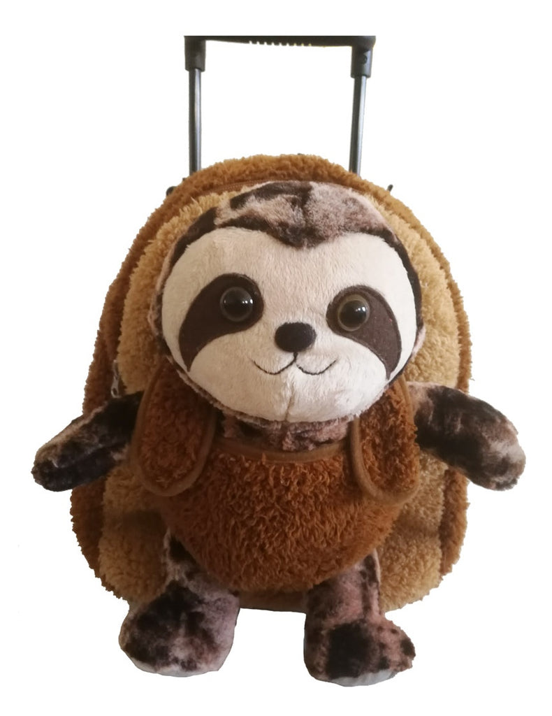 Popatu Boys Brown Rolling Backpack Sloth Stuffed Animal - Popatu pageant and easter petti dress