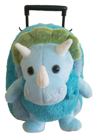 Popatu Blue Rolling Backpack with Dino Stuffed Animal - Popatu pageant and easter petti dress