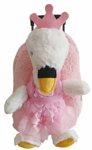 Popatu Kid's Pink Swan Princess Rolling Backpack Removable Plush