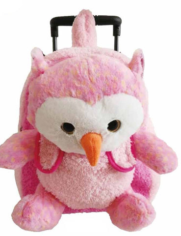Popatu Pink Rolling Backpack with Owl Plush - Popatu pageant and easter petti dress
