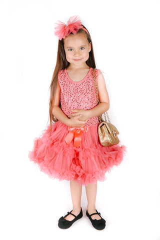 Popatu Little Girls Coral Sequin Petti Dress - Popatu pageant and easter petti dress