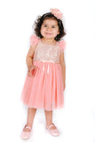 Popatu Little Girls Peach Gold Sequin Tulle Dress - Popatu pageant and easter petti dress