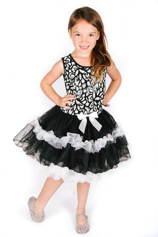 Popatu Little Girls Black Ruffle Dress - Popatu pageant and easter petti dress
