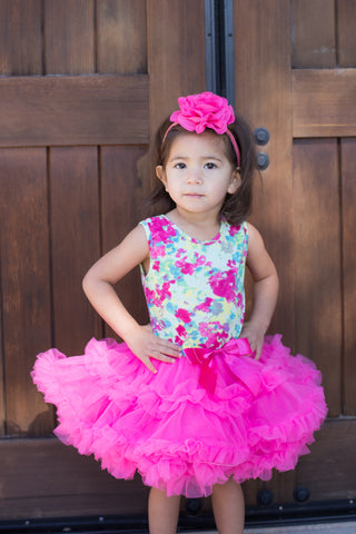 Popatu Baby Girls Floral Print Ruffle Dress - Popatu pageant and easter petti dress