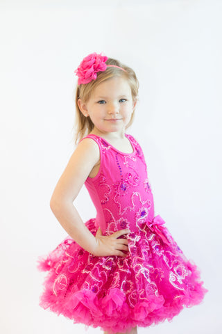 Popatu Little Girls Hot Pink Sparkling Petti Dress - Popatu pageant and easter petti dress